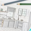 Plan scribble of a modern fitted kitchen — Stock Photo