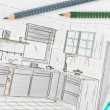 Stock Photo: Plscribble of modern fitted kitchen