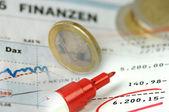 Finance chart and bank account — Stock Photo