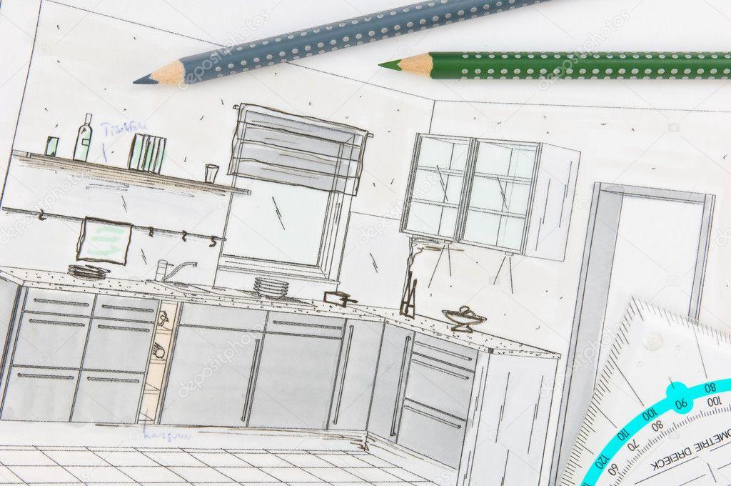 Plan de dessin main lev e d 39 une cuisine quip e moderne for Cuisine dessiner plan