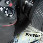 fotoaparát a tisk karty — Stock fotografie