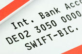 Swift-Code and IBAN on a bank statement — Stock Photo