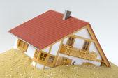 House, built on sand — Stock Photo