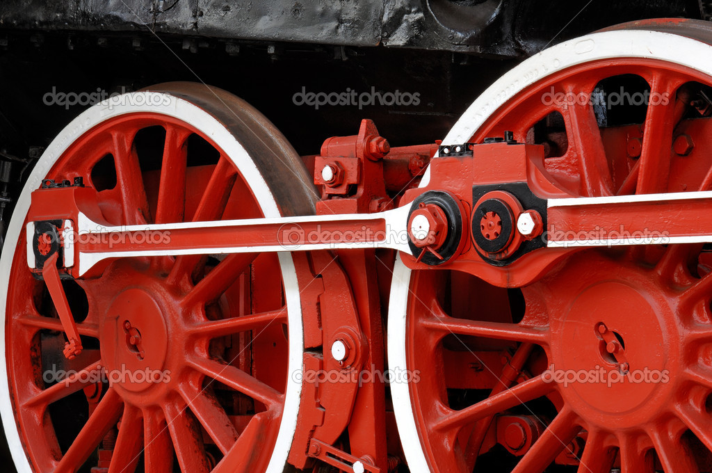 Red wheels of a vintage steam locomotive — Stock Photo #4049024