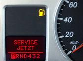 Dashboard met dienst nu-veiligheidssignalisatie — Stockfoto