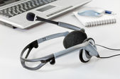 Headset with Laptop — Stock Photo
