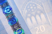 Security features on a 20-euro banknote — Stock Photo