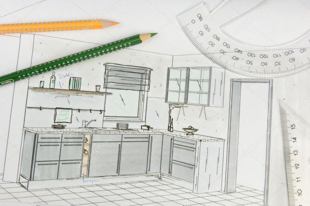 Plan de dessin main lev e d 39 une cuisine quip e moderne for Plan pour cuisine equipee