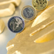 Euro coin on a euro sign — Stock Photo