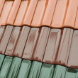 Clour samples of roof pan tiles - Stock Photo