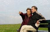 Senior couple on park bench — Stock Photo