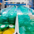 Mass production of plastic containers — Stock Photo