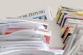 Stack of german newspapers — Stock Photo