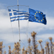 Greek flag and Europe flag — Stock Photo