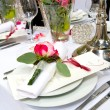 Covered banquet with red — Stock Photo
