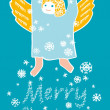Angel with snowflakes — Stock Vector