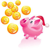 Christmas piggy bank for money rain — Stock Vector