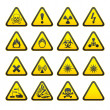 Stock Vector: Set of Triangular Warning Hazard Signs