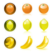 Orange Lemon Banana icons — Stock Vector