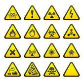 Conjunto de señales de peligro advertencia triangular — Vector de stock
