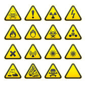 Set of Triangular Warning Hazard Signs — Stock Vector
