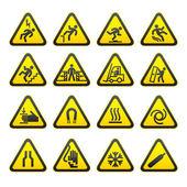Set Simple of Triangular Warning Hazard Signs — Stock Vector