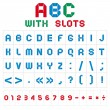 ABC font with slots, color on white background - Stockvectorbeeld