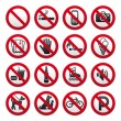 Prohibited Signs — Stock Vector