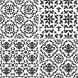 Seamless wallpaper pattern floral, black and white — Stock Vector