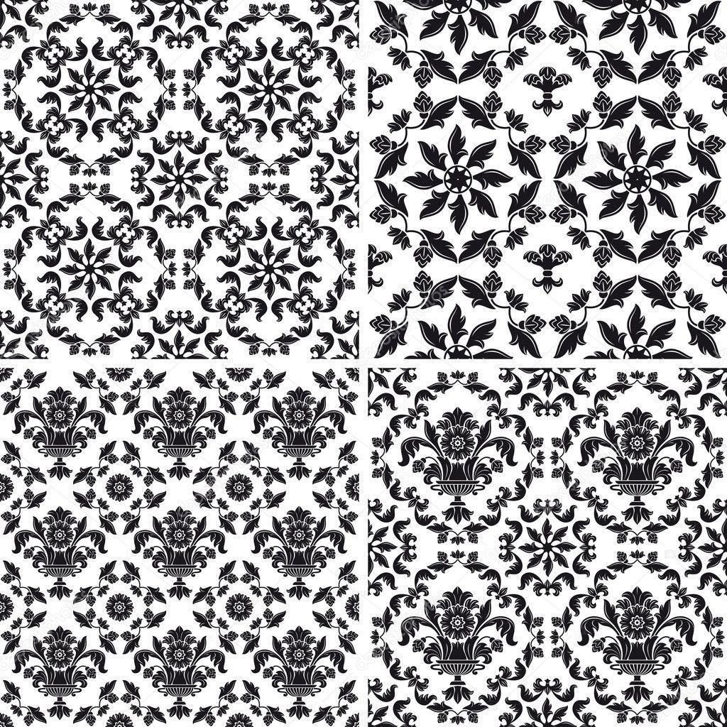 Mod le sans couture papier peint floral noir et blanc image vectorielle 5023092 - Papier peint graphique noir et blanc ...