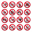 Set of Prohibited Signs — Stock Vector