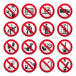 A set of signs prohibiting — Stock Vector