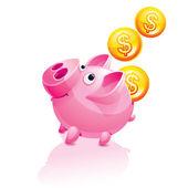 Piggy Bank and falling Money — Stock Vector