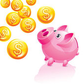 Piggy bank for money rain — Stock Vector