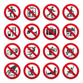 Prohibited signs, set — Stock Vector