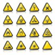 Royalty-Free Stock Vector Image: Set of three-dimensional Warning Hazard Signs