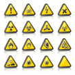 Stock Vector: Set of three-dimensional Warning Hazard Signs
