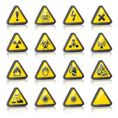 Set of three-dimensional Warning Hazard Signs — Stock Vector