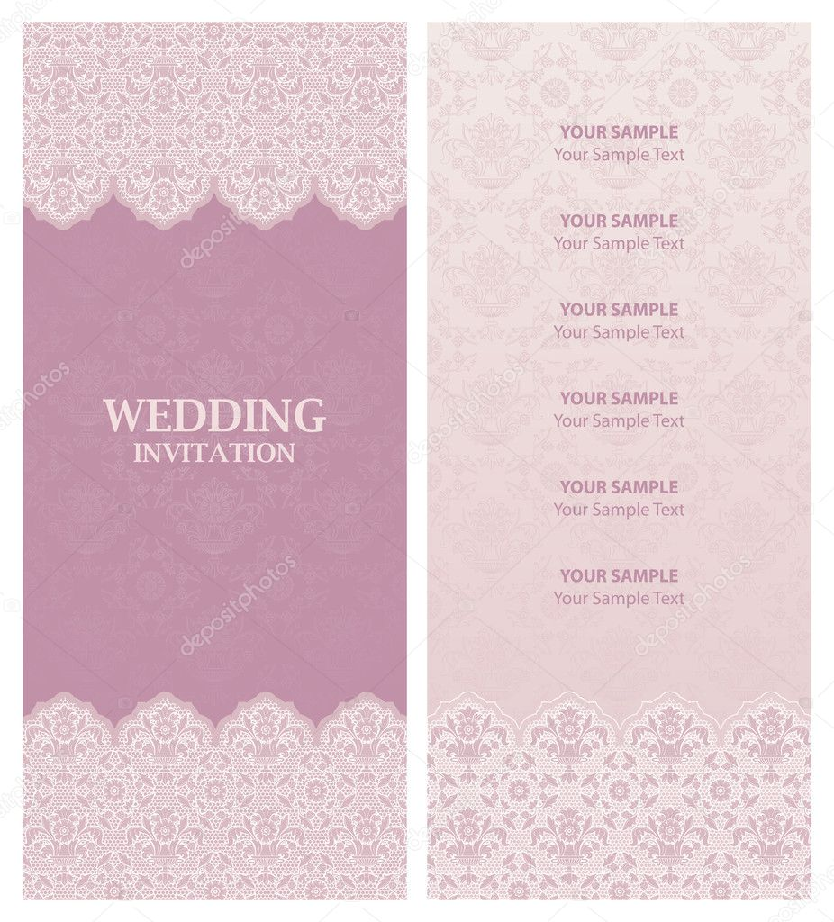 wedding invitation ornament flowers background stock illustration