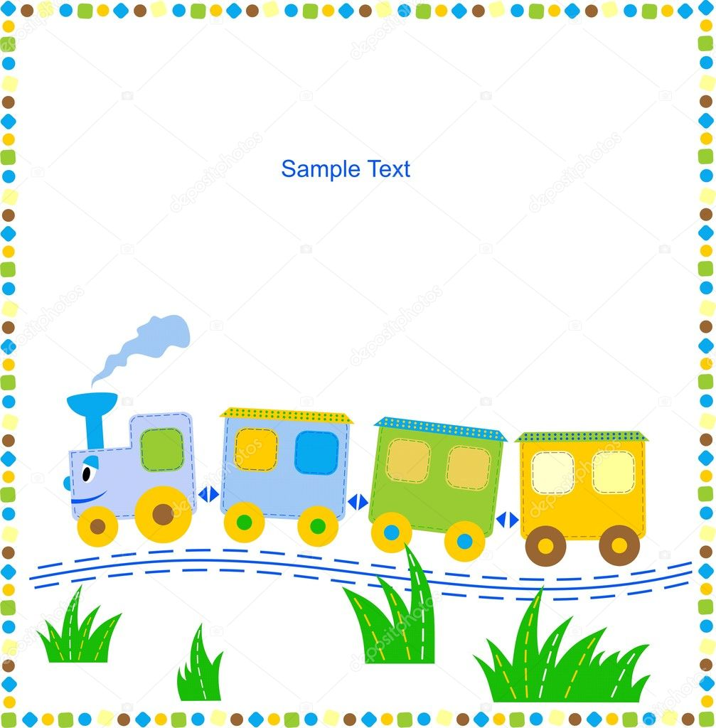 Children's background with toy train for your text. — Stock Vector #4345166
