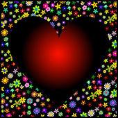 Marco de flores de colores con fondo negro y rojo corazón — Vector de stock