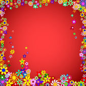 Frame of Colorful Flowers on a Red Background — Stock Vector