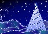 Albero di abete di Natale su snow_6 blu scuro — Vettoriale Stock