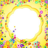 Frame of Colorful Flowers on a Yellow Background — Stock Photo