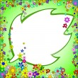 Royalty-Free Stock Imagem Vetorial: Frame of Colorful Flowers on a Green Background