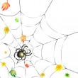 Spider on a Web in Autumn - Stock Vector