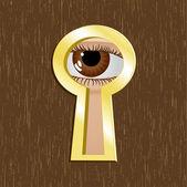 Fechadura de porta de metal dourado com olho — Vetor de Stock