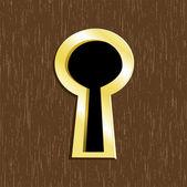 Fechadura de porta de metal dourado na porta de madeira escura — Vetorial Stock