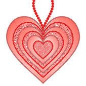 Beyaz bir arka plan üzerinde izole kalp olarak güzel kolye — Stok Vektör