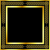 Gold pattern frame with waves and stars_4 — Vettoriale Stock